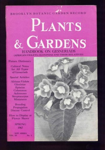 Image for Handbook on Gesneriads (African-Violets, Gloxinias and Their Relatives) Plants & Gardens Vol. 23 Spring (May) 1967.