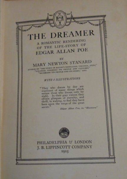 Image for The Dreamer. A Romantic Rendering of the Life Story of Edgar Allan Poe.