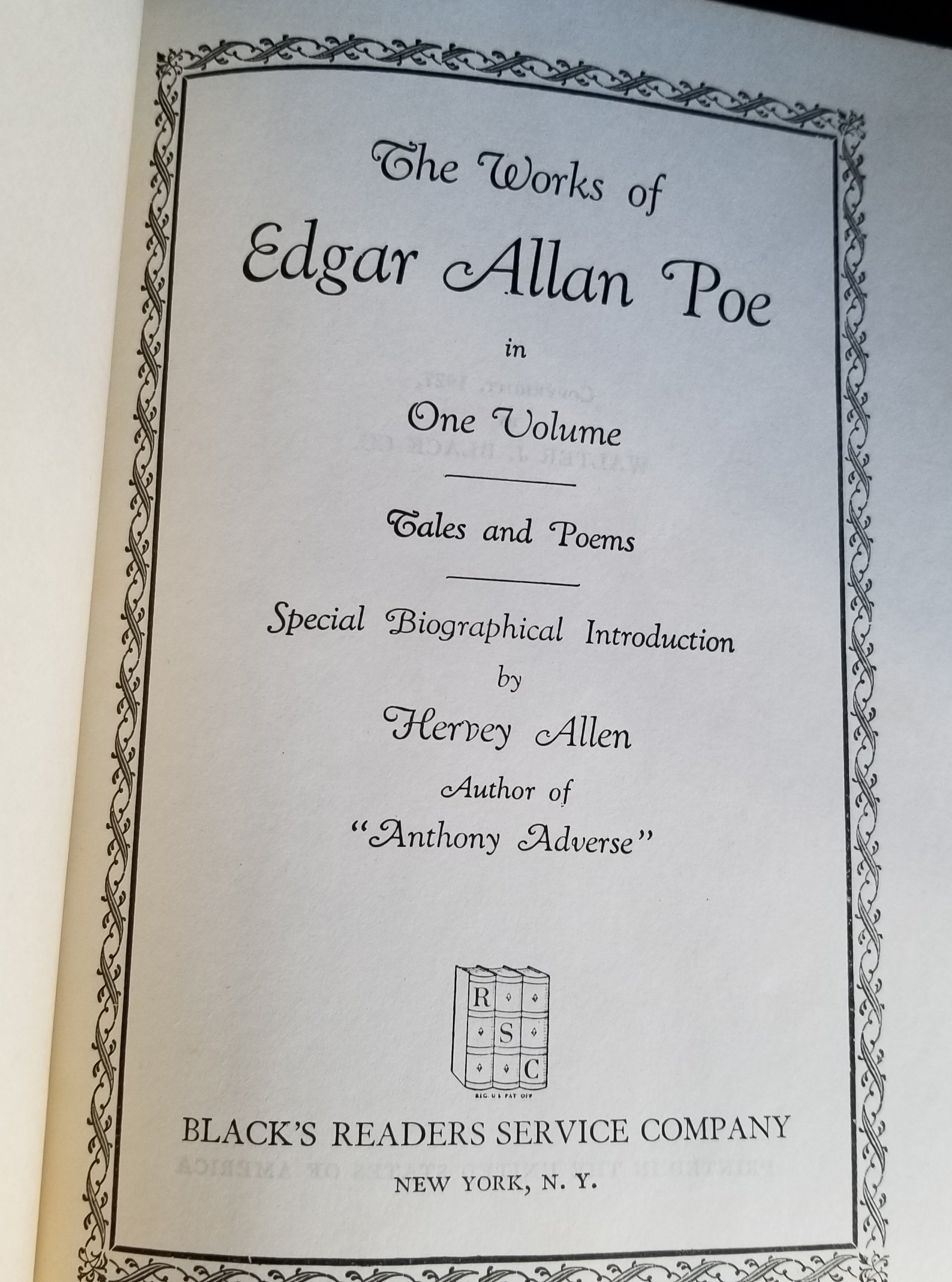 Image for The Works of Edgar Allan Poe in One Volume. Tales and Poems. Special Biographical Introduction by Hervey Allen.