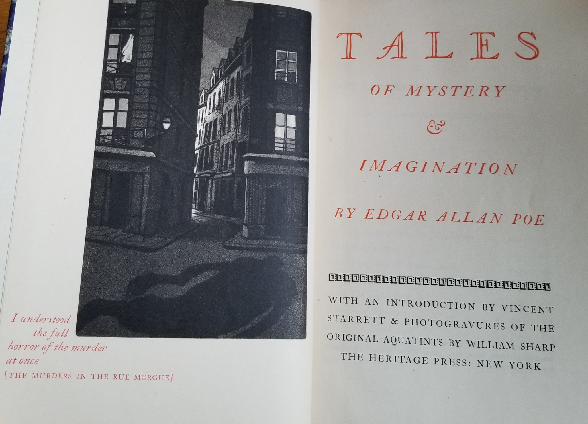Image for Tales of Mystery & Imagination. With an Introduction By Vincent Starrett & Photogravures of the Original Aquatints By William Sharp.