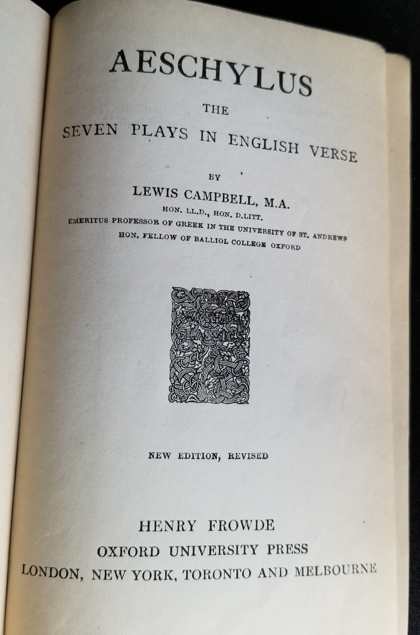 Image for Aeschylus. The Seven Plays in English Verse.  Lewis Campbell.